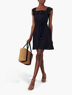 Oasis Broderie Square Neck Sundress, Black
