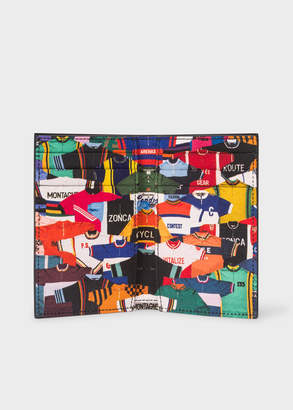 Paul Smith Men's Black Leather 'Cycling Jersey' Print Credit Card Wallet