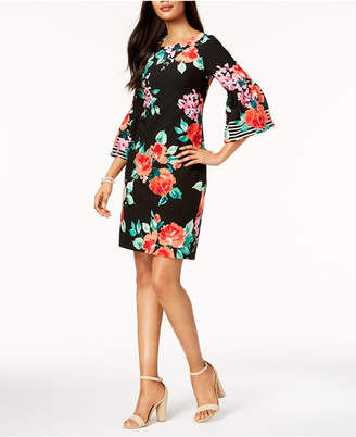 Jessica Howard Floral-Print Bell-Sleeve Dress, Regular & Petite Sizes