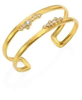 Gurhan Pointelle Diamond& 22K Yellow Gold Open Cuff