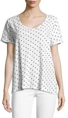 Lord & Taylor Plus Dot-Print Cotton Slub V-neck Roll Sleeve Tee