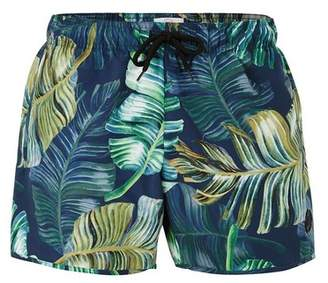 Topman Mens Blue And Green Forest Swim Shorts