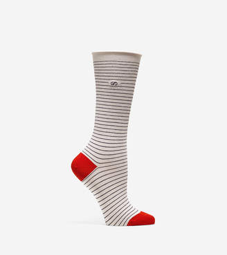 Cole Haan Roll Top Stripe Crew Socks