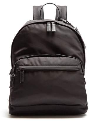 Prada - Zip Pocket Leather Trimmed Backpack - Mens - Black