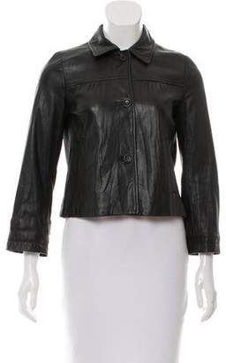 Theory Leather Button-Up Jacket