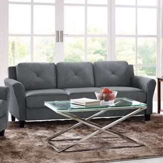 "Lifestyle Solutions Taryn 78.75"" Curved-Arm Sofa, Black"