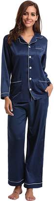 In-fashion style Women's Satin Pajamas Set Sleepwear Loungewear