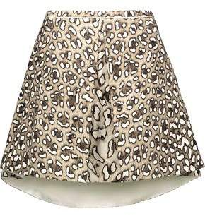 Roberto Cavalli Pleated Leopard-Print Cotton-Twill Mini Skirt