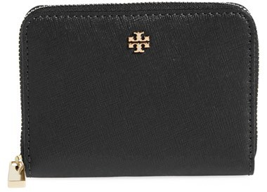 Women's Tory Burch Robinson Leather Zip Coin Case - Black