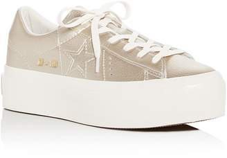 Converse One Star Leather Lace Up Platform Sneakers