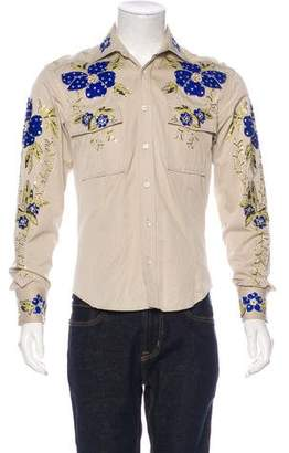 Gucci 2001 Embroidered Rhinestone Woven Shirt