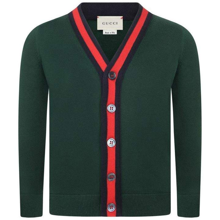 GUCCIBoys Green Cardigan With Signature Stripe