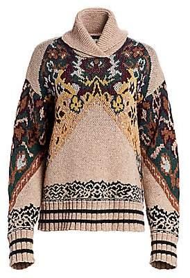 Etro Women's Oversize Floral Turtleneck Sweater