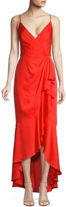 BCBGMAXAZRIA Ruffled Wrap High-Low Dress
