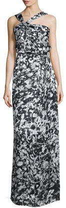 Parker Selena Asymmetric-Neck Floral Gown, Rorschach $298 thestylecure.com