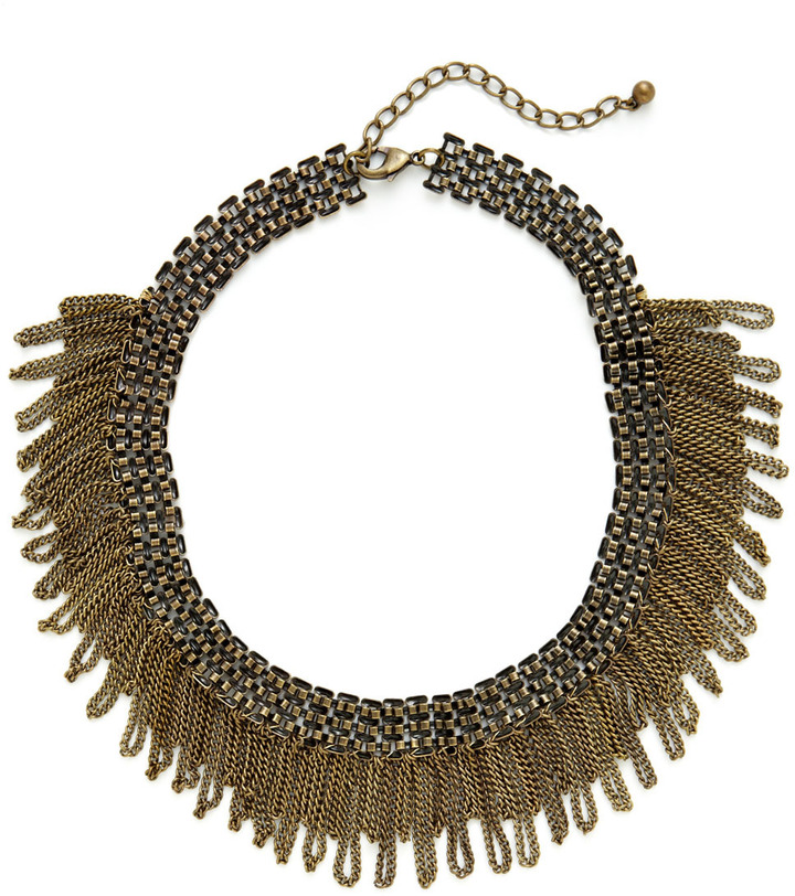 Leslie Danzis Antique Gold & Crystal Chain Mail Bib Necklace
