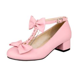 Agodor Women's Mid Block Heel T Strap Pumps with Bowtie Cute Closed Toe Shoes