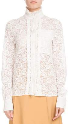 Chloé Long-Sleeve Mock-Neck Button-Front Floral-Lace Blouse