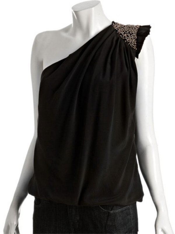 Robert Rodriguez black silk chiffon one shoulder sequin detail tank