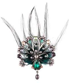 Carolee Peacock-Inspired Multi-Stone & Feather Brooch