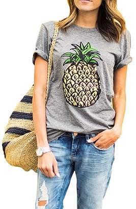 ZAWAPEMIA Womens Summer Pineapple Printed Tops Funny Juniors T Shirt Short Sleeve Tees M