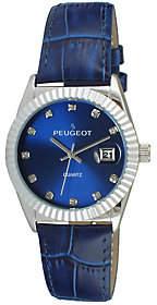 Peugeot Women's Silvertone Coin Bezel Blue Leather Watch