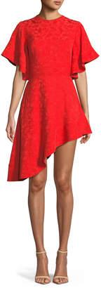 Brandon Maxwell Pineapple Satin Jacquard Asymmetric-Hem Cocktail Dress