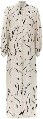 Egrey long silk shirt dress