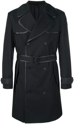 Fendi contrast-trim belted trench coat