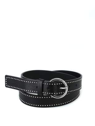 Dondup Studded Glossy Leather Buckled Belt