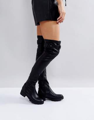 ba0b282d0c9 Truffle Collection Buckle Trim Stretch Over Knee Boot