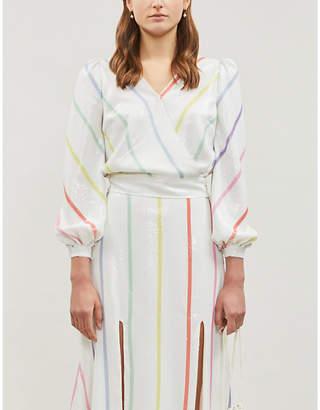 Olivia Rubin Kendall balloon-sleeve striped sequinned top