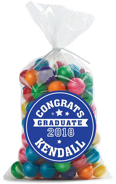 Personalized 'Congrats' Sticker Favor Bag - Set of 24