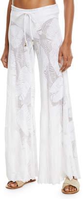 Letarte Palm Lace Wide-Leg Coverup Pants
