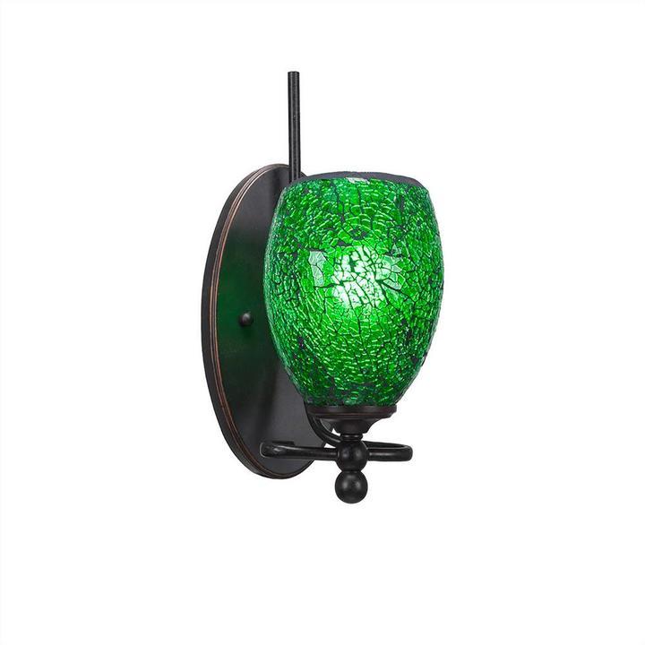 Cambridge SilversmithsCambridge 1-Light Dark Granite Sconce with Green Ribbed Glass