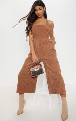 PrettyLittleThing Baby Pink Corduroy Wide Leg Culotte Jumpsuit