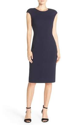 Eliza J Cap Sleeve Crepe Sheath Dress (Regular & Petite)