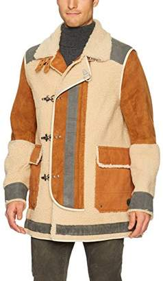 Scotch & Soda Men's Long Outdoor Jacket in Mix & Match Shearling and Suede Quali