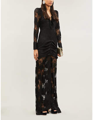 Alexis Lucasta ruffle-trimmed ruched stretch-lace maxi dress