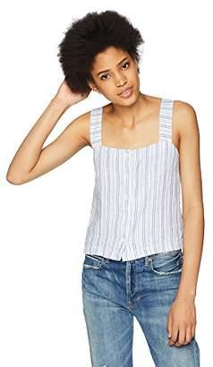 Three Dots Women's Linen Stripe Button Loose Short Tank