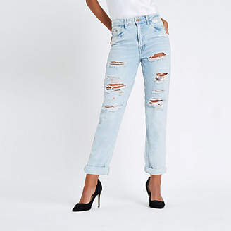 River Island Light blue high rise mom fit ripped jeans