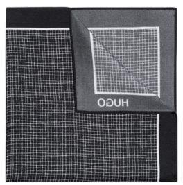HUGO Boss Crosshatch Italian Silk Pocket Square One Size Black