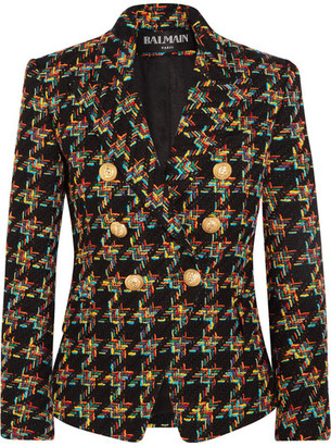 Balmain - Double-breasted Houndstooth Tweed Blazer - Black $2,400 thestylecure.com