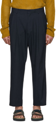 Dries Van Noten Navy Cropped Phil Trousers