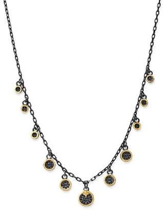 Armenta 18K Yellow Gold & Blackened Sterling Silver Old World Pavé Champagne Diamond & Black Sapphire Multi Disc Adjustable Dangle Necklace, 17.5""