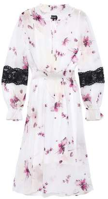 DKNY Lace-trimmed Floral-print Georgette Midi Dress