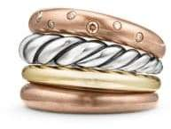 David Yurman Pure Form? Mixed Metal Four-Row Ring with Diamonds, Bronze and Silver, 17.5mm