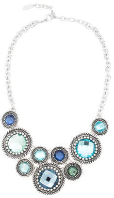 Blue Multi Colored Circle Statement Necklace