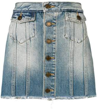 Saint Laurent buttoned denim mini skirt