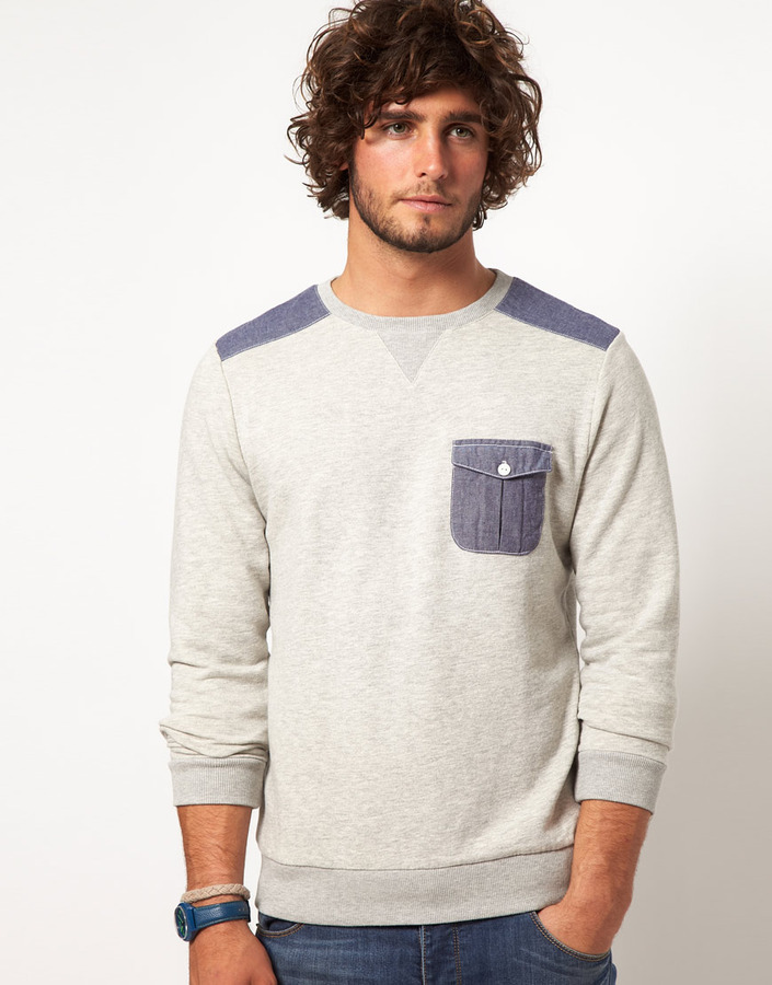 Asos Sweatshirt With Oxford Pocket And Patches